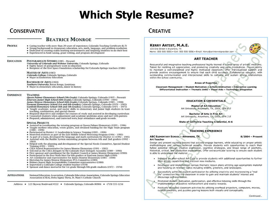 Which Style Resume Conservative Creative