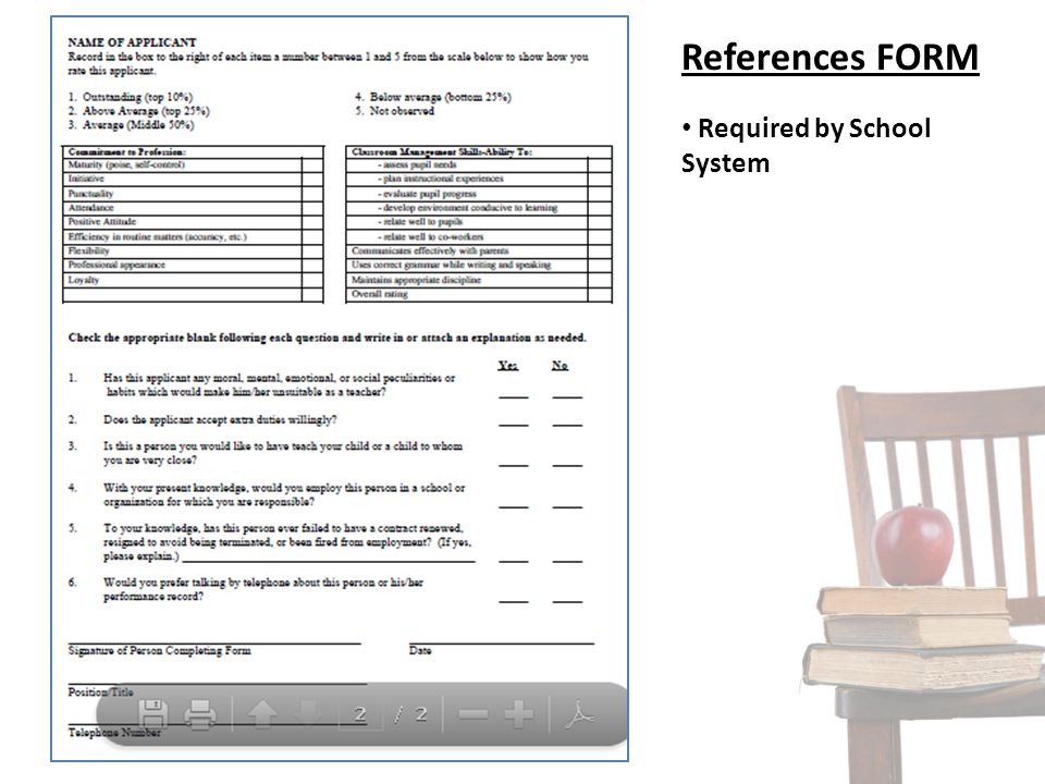 References FORM Required by School System