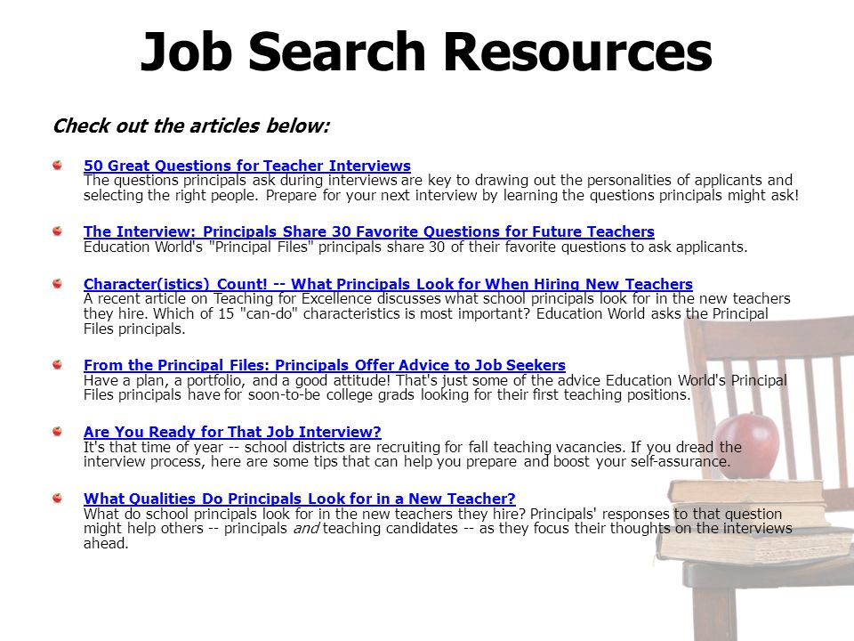 Job Search Resources Check out the articles below:
