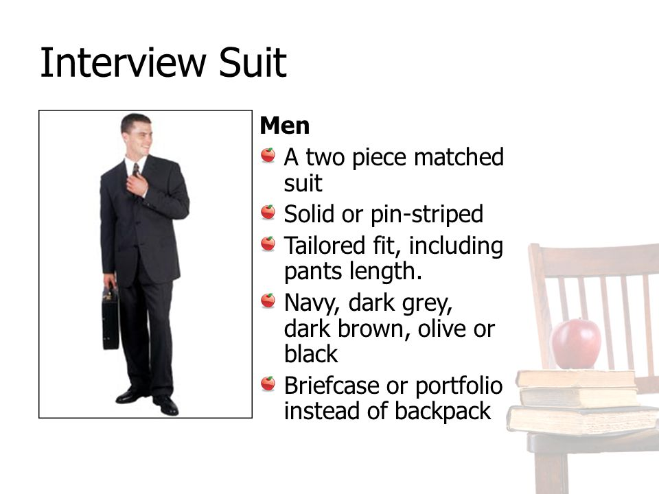 Interview Suit Men A two piece matched suit Solid or pin-striped