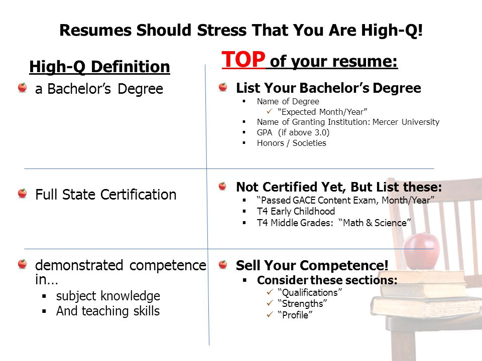 Resumes Should Stress That You Are High-Q!