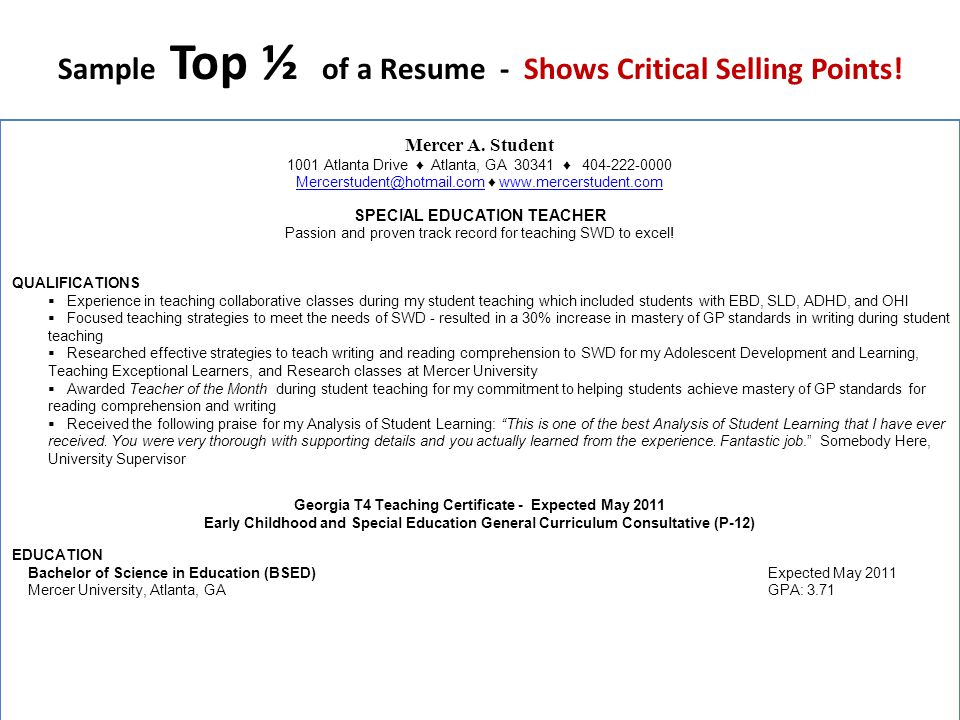 Sample Top ½ of a Resume - Shows Critical Selling Points!