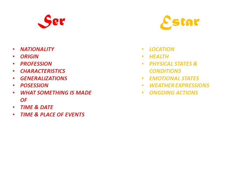 Ser Estar NATIONALITY ORIGIN PROFESSION CHARACTERISTICS
