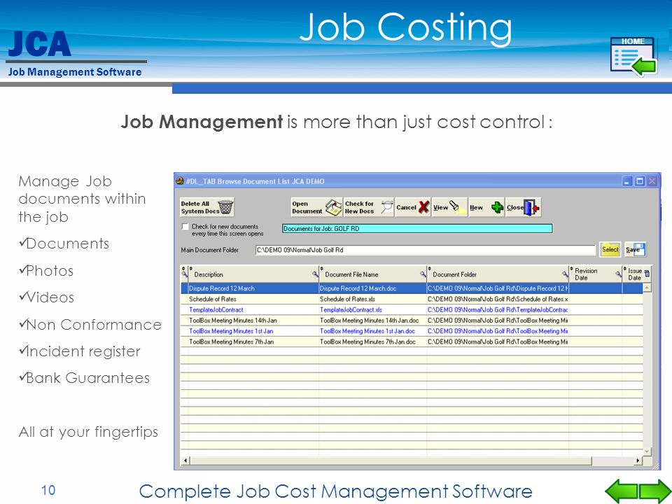 Job Costing Job Management is more than just cost control :