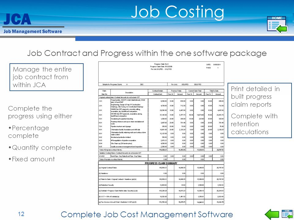 Job Costing Job Contract and Progress within the one software package