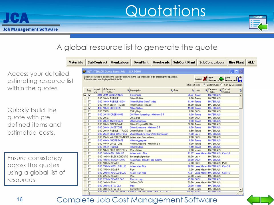 Quotations A global resource list to generate the quote