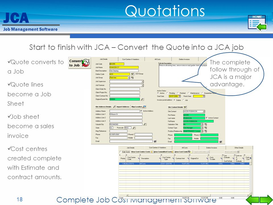 Quotations Start to finish with JCA – Convert the Quote into a JCA job