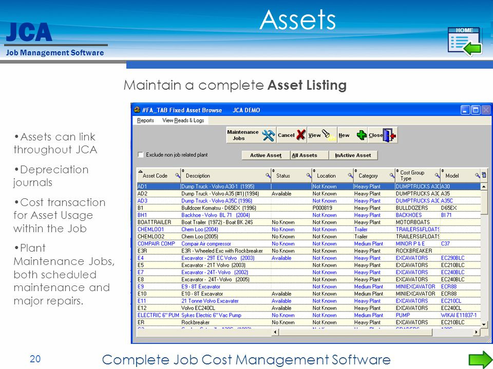 Assets Maintain a complete Asset Listing