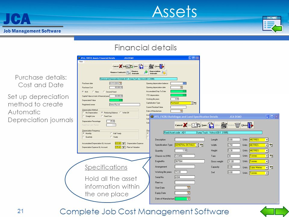 Assets Financial details Complete Job Cost Management Software