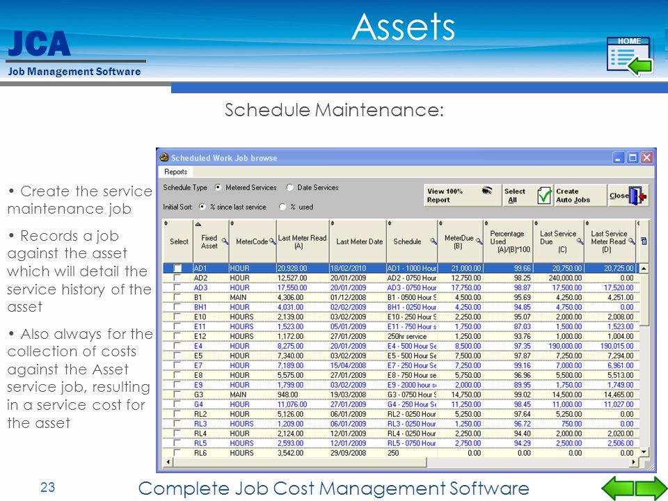 Assets Schedule Maintenance: Complete Job Cost Management Software