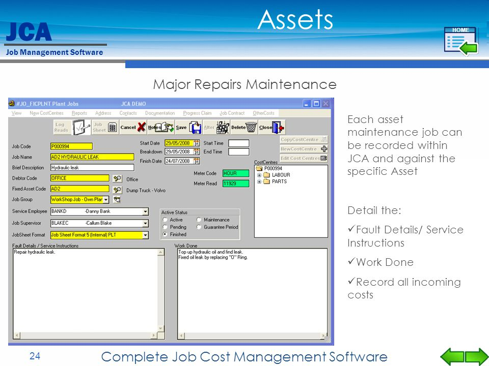 Assets Major Repairs Maintenance Complete Job Cost Management Software