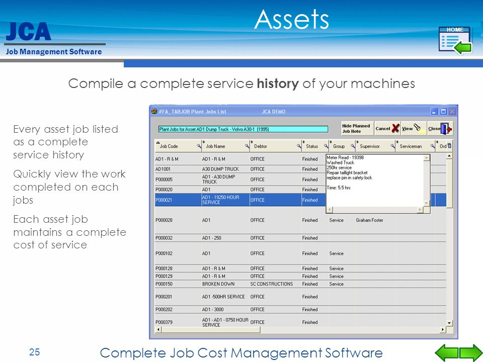 Assets Compile a complete service history of your machines