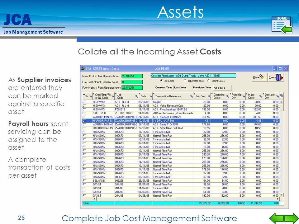 Assets Collate all the Incoming Asset Costs