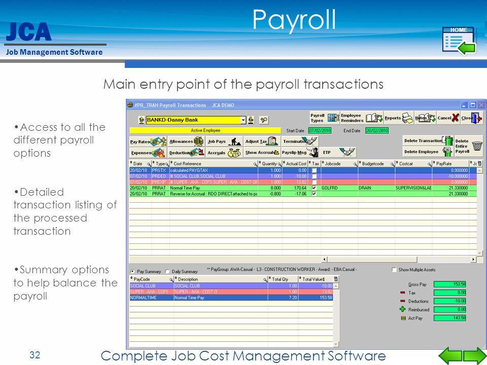 Payroll Main entry point of the payroll transactions