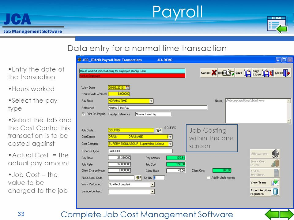 Payroll Data entry for a normal time transaction