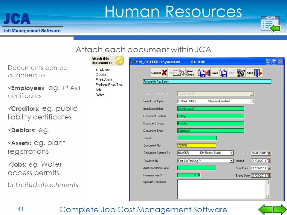 Human Resources Attach each document within JCA