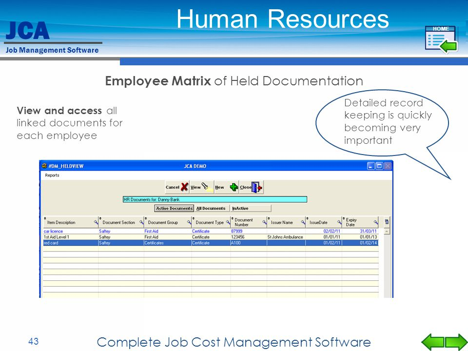 Human Resources Employee Matrix of Held Documentation