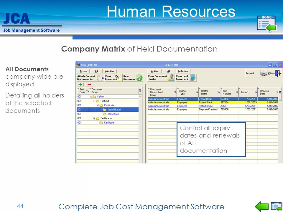 Human Resources Company Matrix of Held Documentation