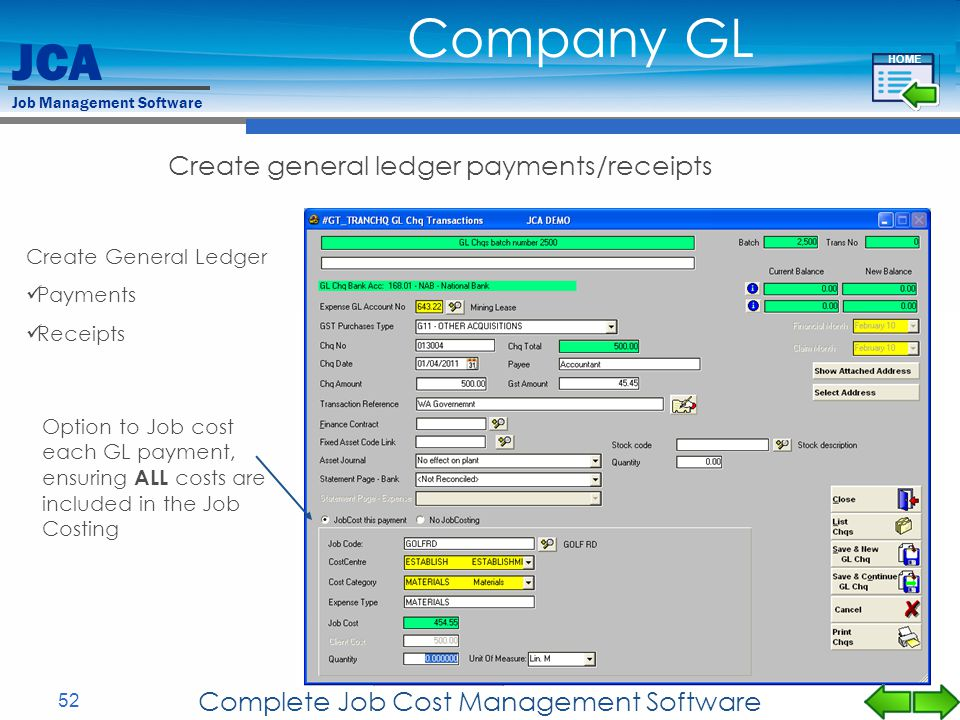 Company GL Create general ledger payments/receipts