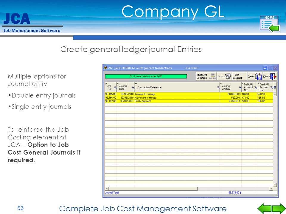 Company GL Create general ledger journal Entries