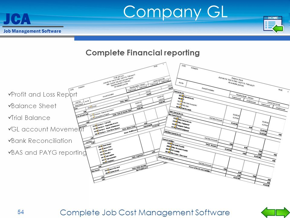 Complete Financial reporting