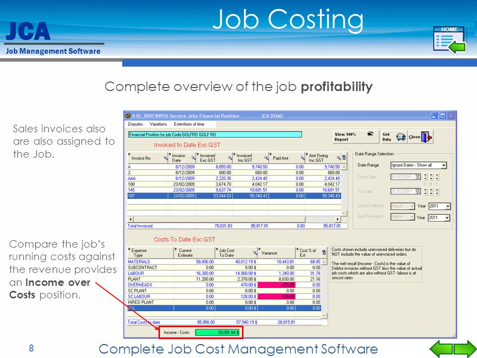 Job Costing Complete overview of the job profitability