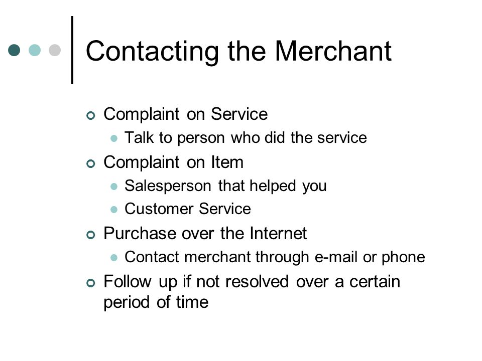 Contacting the Merchant