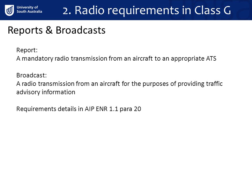 2. Radio requirements in Class G