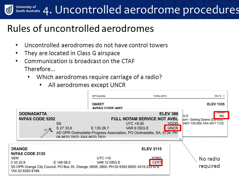 4. Uncontrolled aerodrome procedures