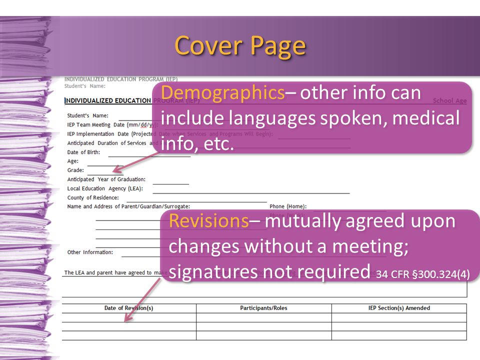 Cover Page Demographics– other info can include languages spoken, medical info, etc.
