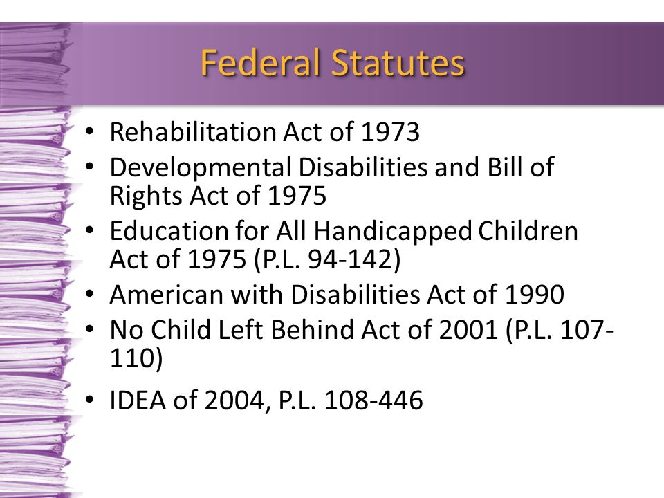 Federal Statutes Rehabilitation Act of 1973