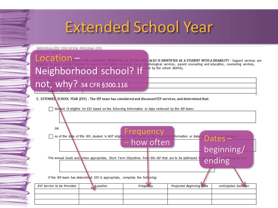 Extended School Year Location – Neighborhood school If not, why 34 CFR §300.116. Frequency – how often.