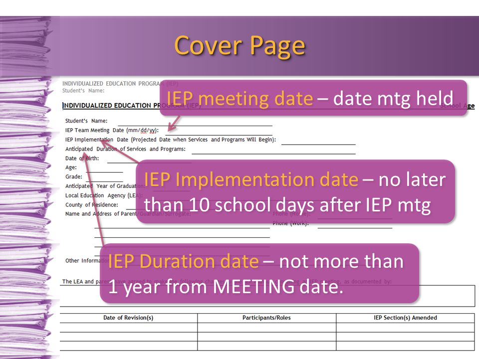 Cover Page IEP meeting date – date mtg held