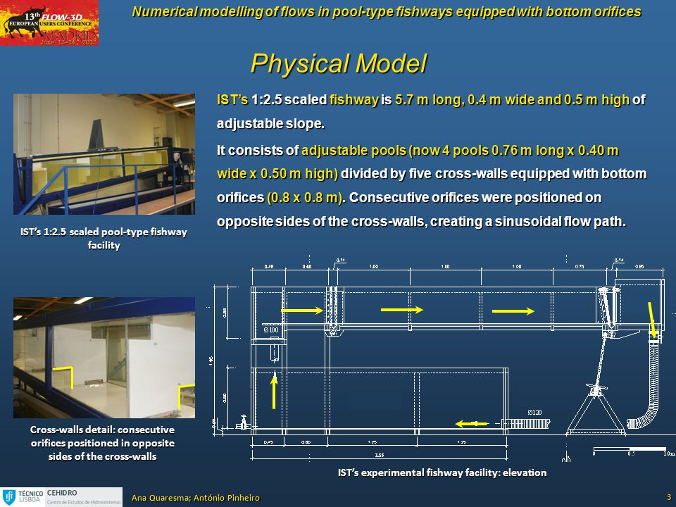Physical Model IST's 1:2.5 scaled fishway is 5.7 m long, 0.4 m wide and 0.5 m high of adjustable slope.