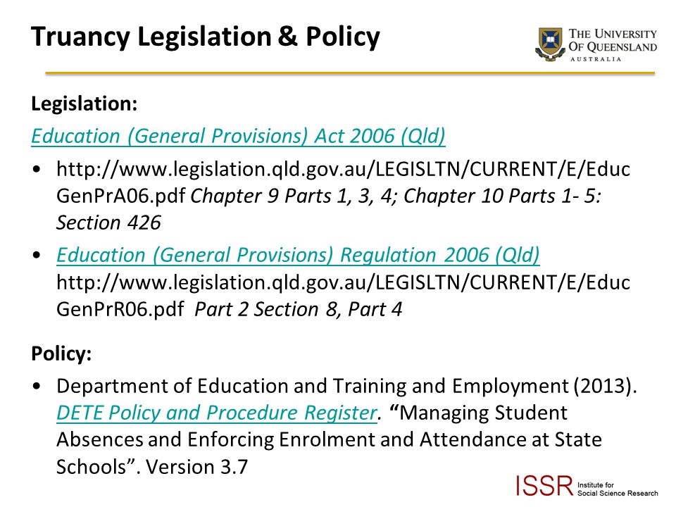 Truancy Legislation & Policy