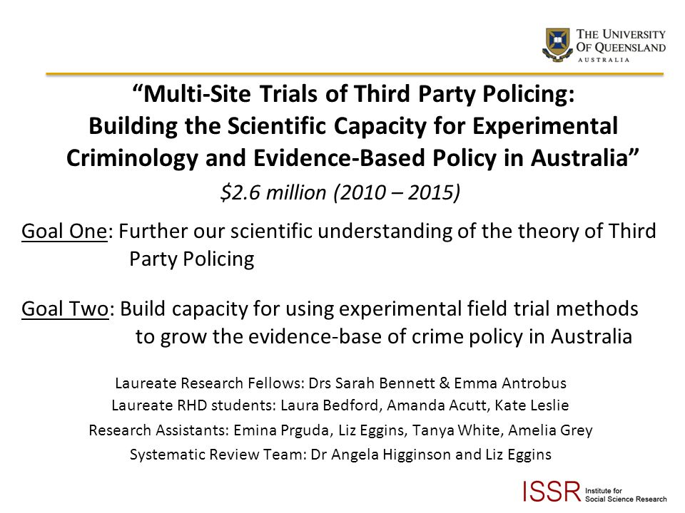 Multi-Site Trials of Third Party Policing: