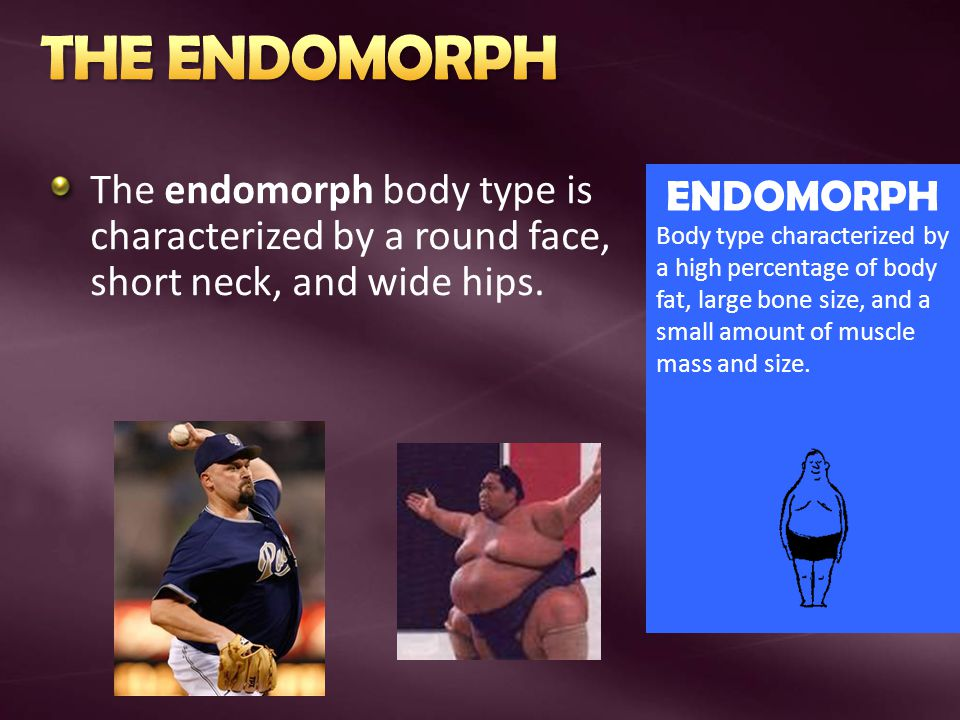 THE ENDOMORPH The endomorph body type is characterized by a round face, short neck, and wide hips. ENDOMORPH.