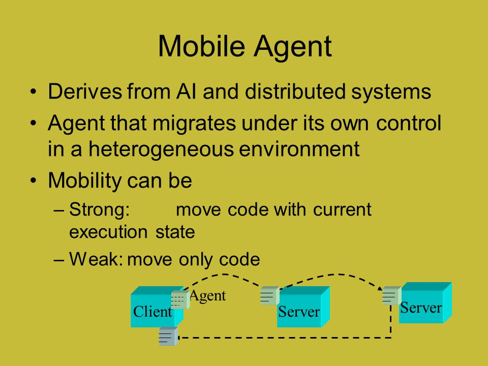 Mobile Agent Derives from AI and distributed systems