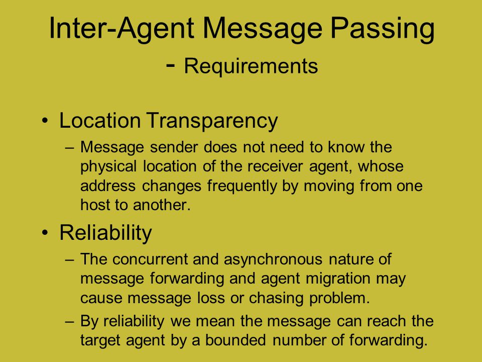 Inter-Agent Message Passing - Requirements