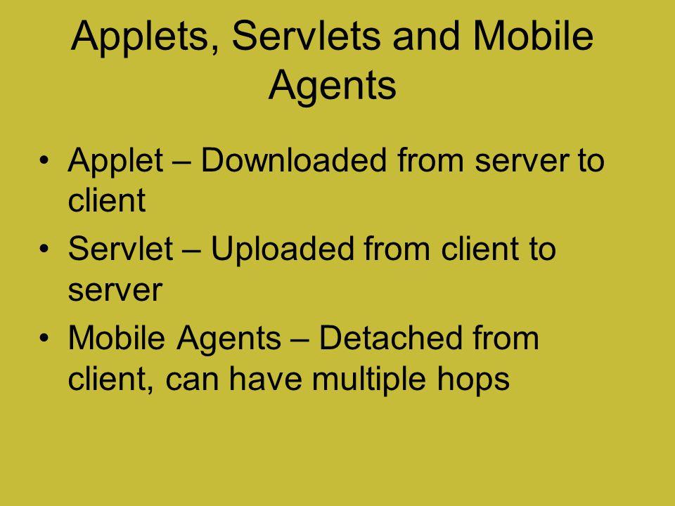 Applets, Servlets and Mobile Agents