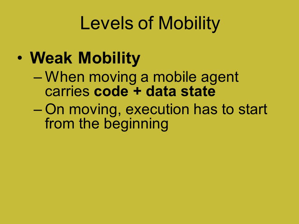 Levels of Mobility Weak Mobility