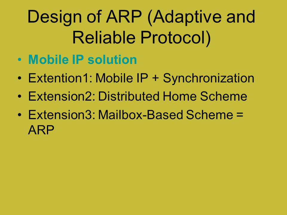 Design of ARP (Adaptive and Reliable Protocol)