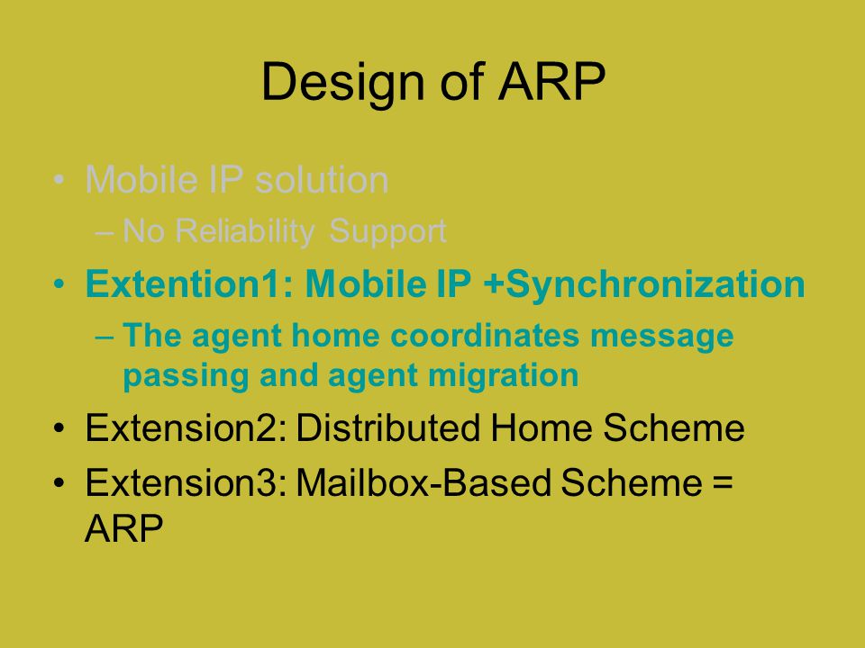 Design of ARP Mobile IP solution