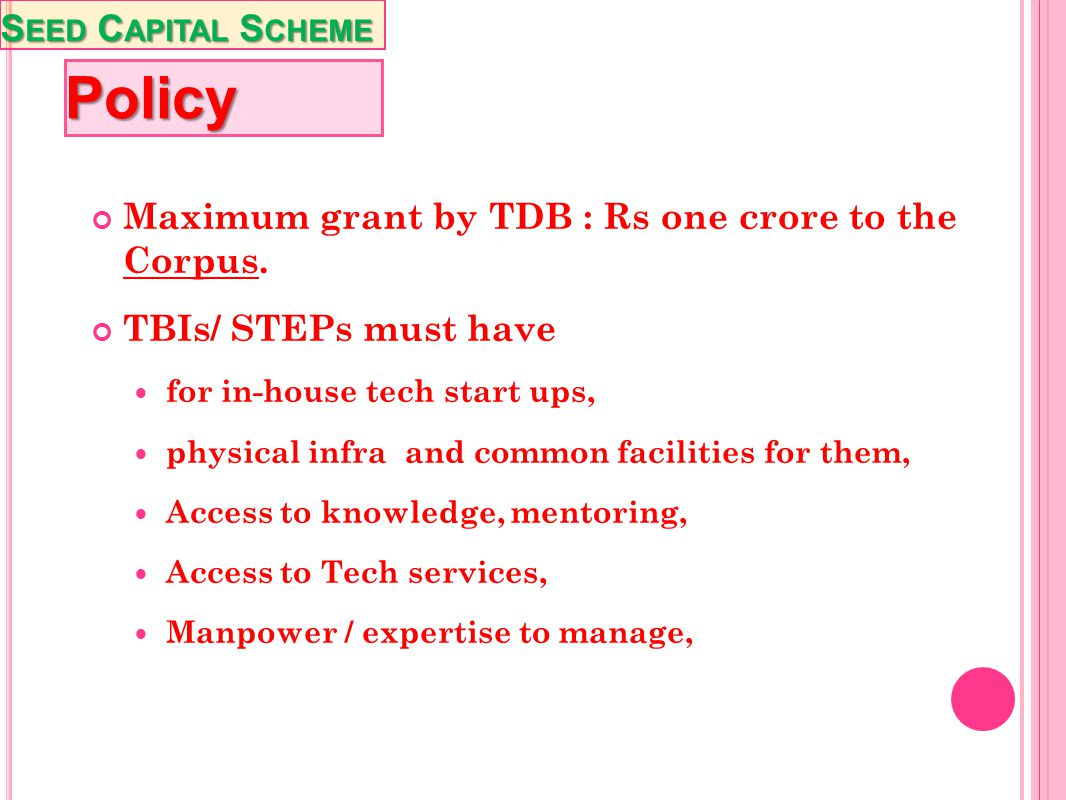 Policy Seed Capital Scheme