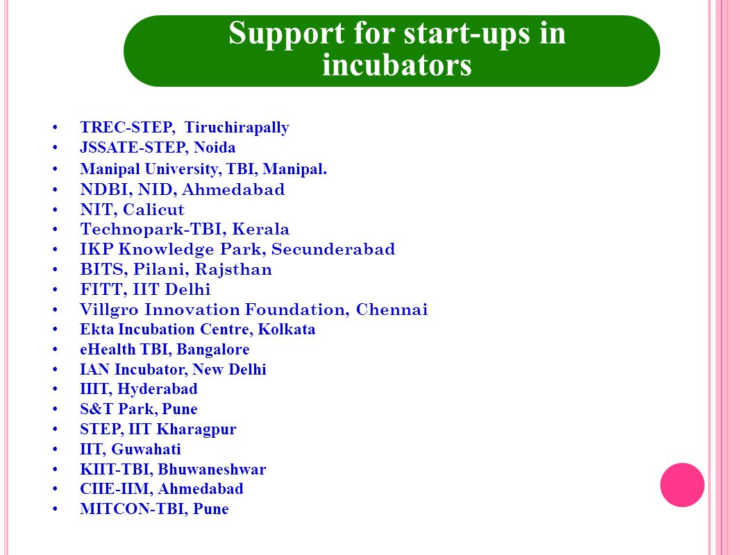 Support for start-ups in incubators