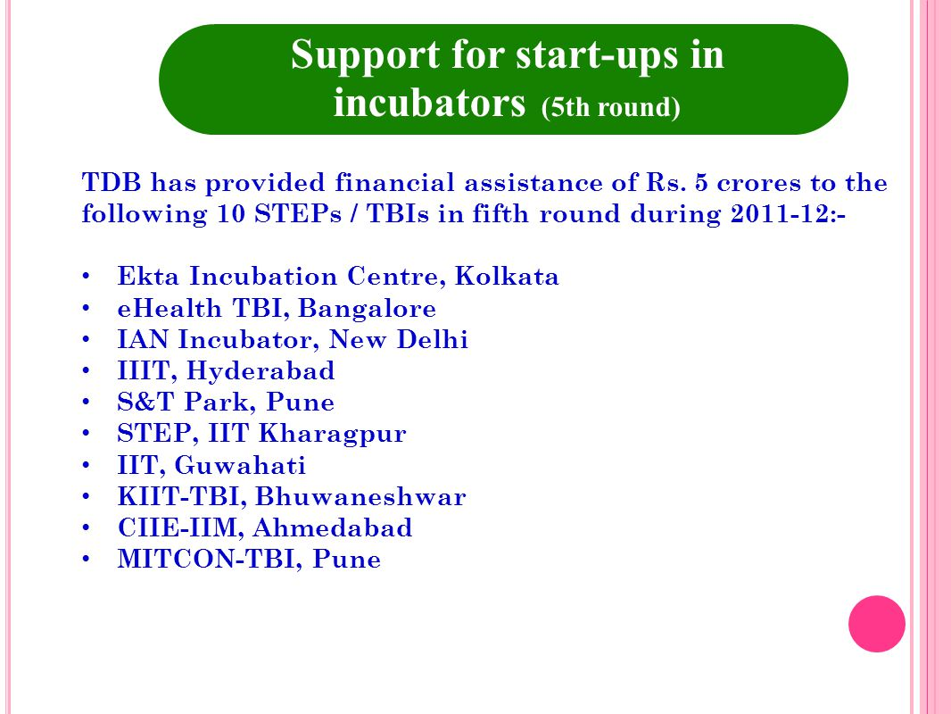 Support for start-ups in incubators (5th round)