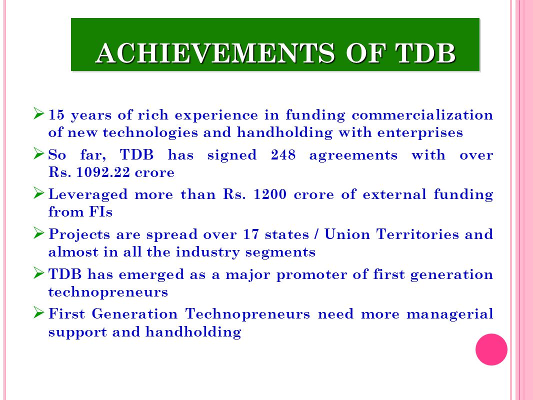 ACHIEVEMENTS OF TDB 15 years of rich experience in funding commercialization of new technologies and handholding with enterprises.