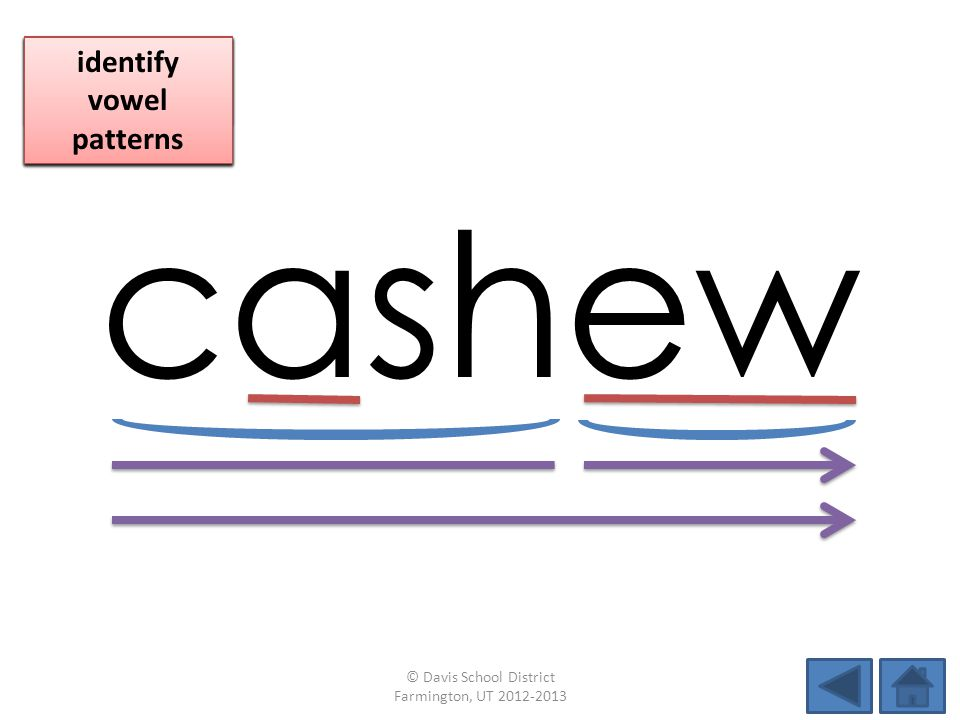 cashew identify vowel patterns blend individual syllables