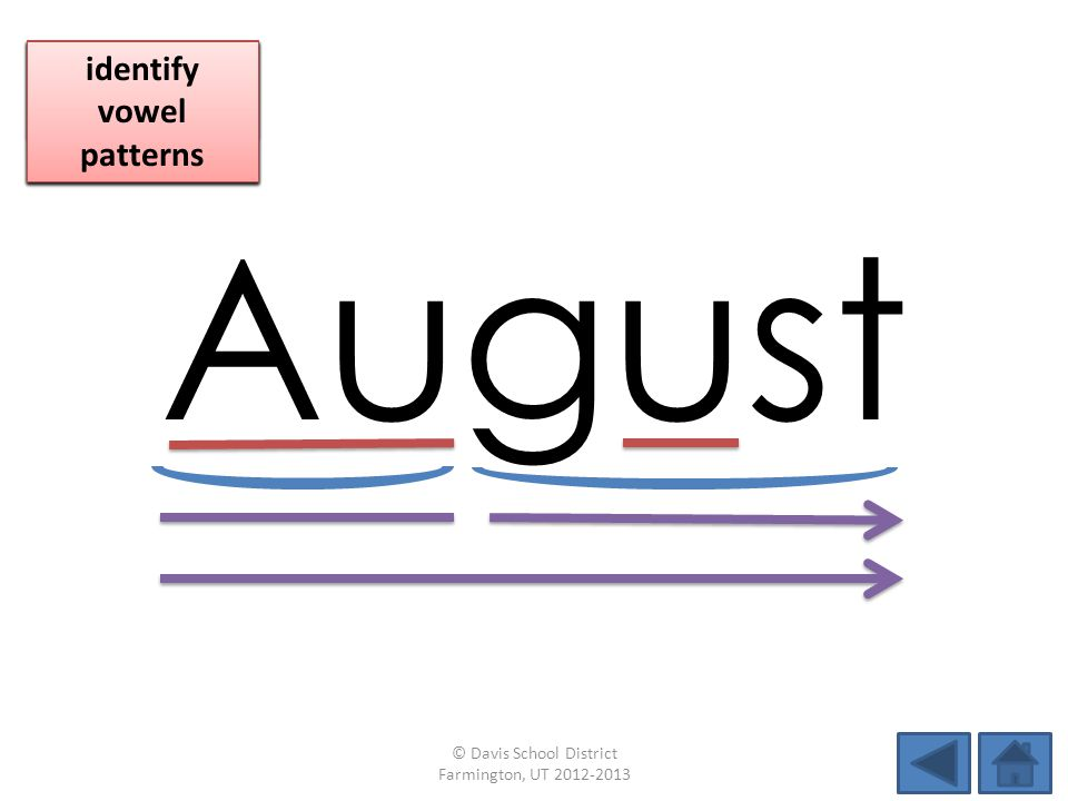 August identify vowel patterns blend individual syllables
