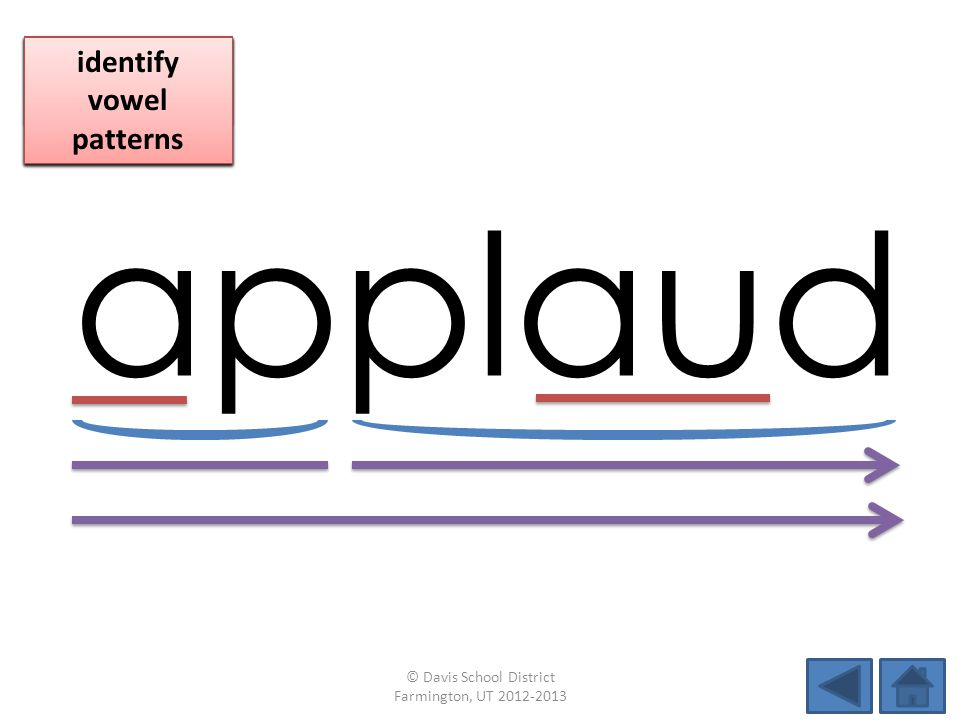 applaud identify vowel patterns blend individual syllables
